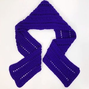 Handmade Knit Hooded Scarf Knitted Purple Grape